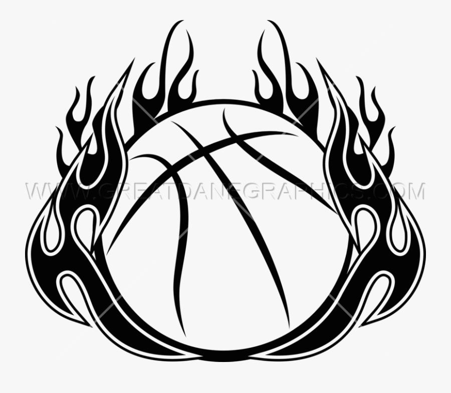 Transparent Flame Clip Art - Basketball With Flames Clipart, Transparent Clipart