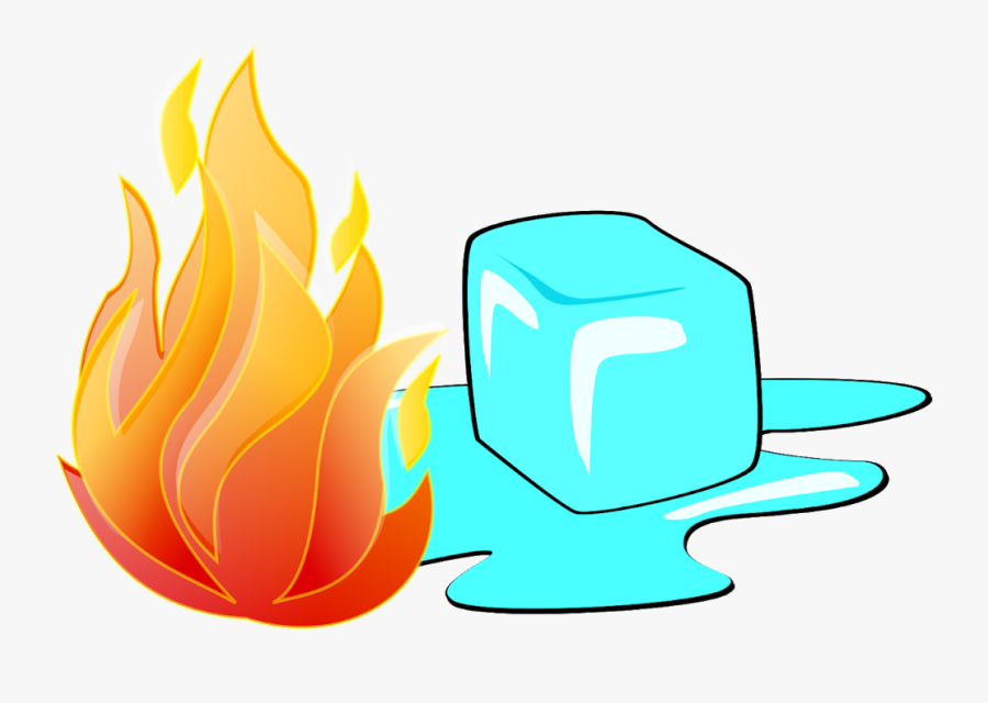Fire Clipart Computer Wallpaper - Ice Cubes And Fire, Transparent Clipart