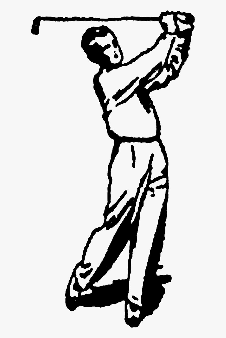 Vintage Golfing Illustration, Transparent Clipart