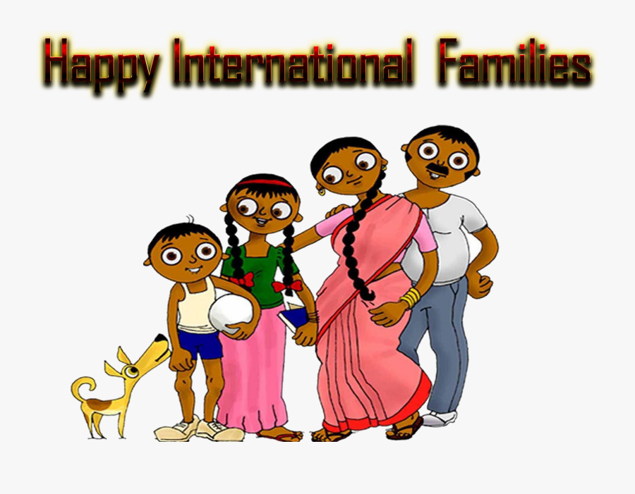 Happy International Families Indian Family Clipart - Indian Single Family Cartoon, Transparent Clipart