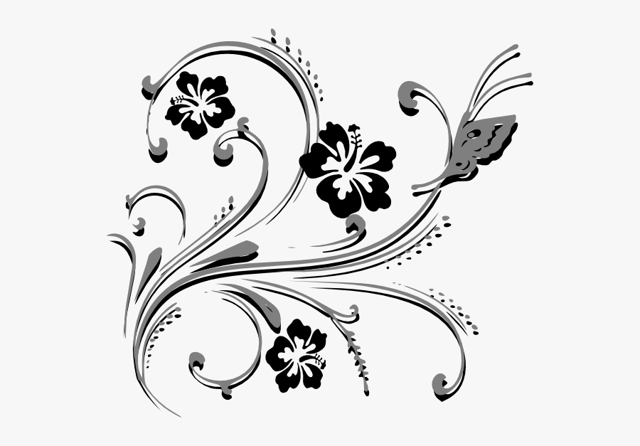 Butterfly Scroll Clip Art - Butterfly And Flower Vector Png, Transparent Clipart