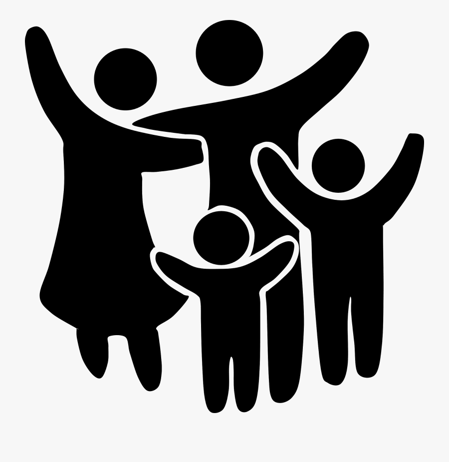 Family Clipart Black And White - Transparent Background Family Clipart Black And White, Transparent Clipart