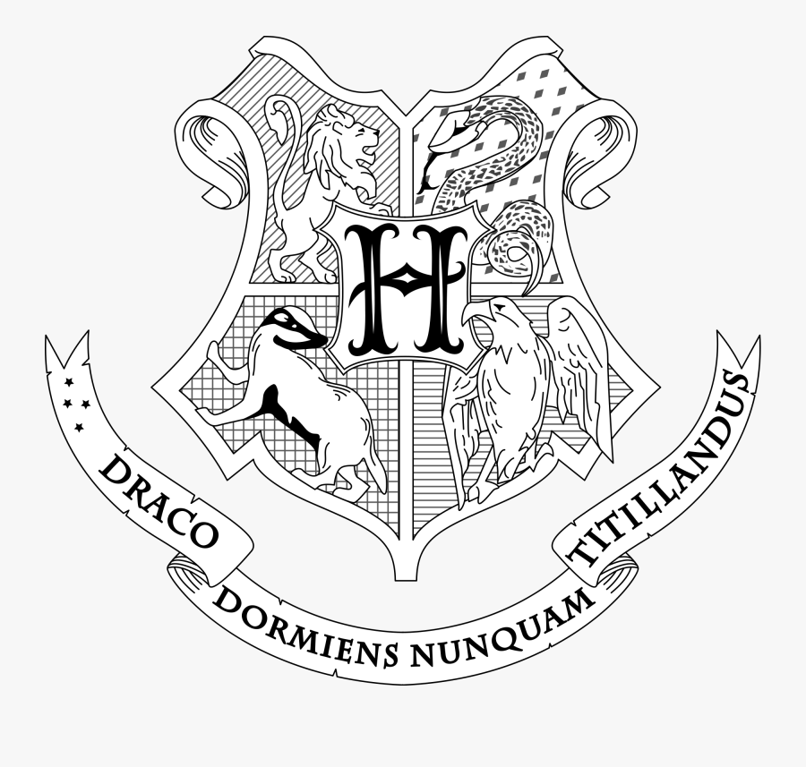 Hogwarts Crest Coloring Page - Harry Potter Crest Drawing, Transparent Clipart