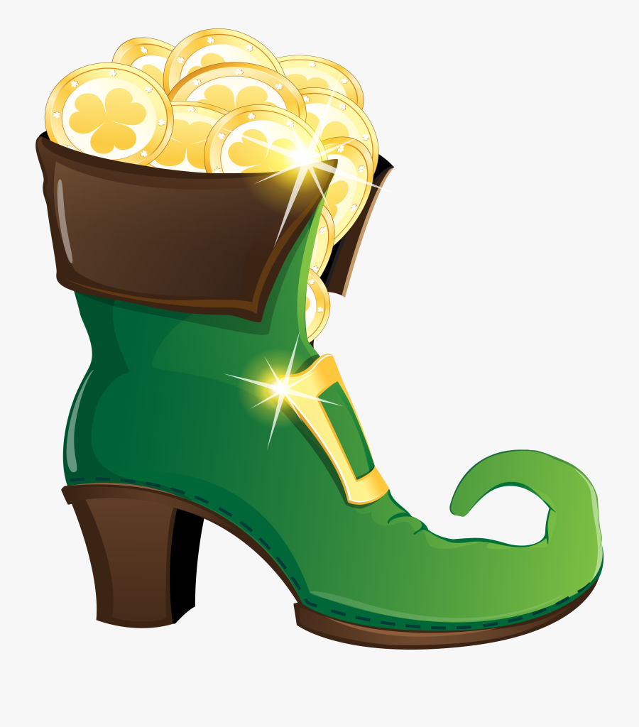 Leprechaun Shoe With Gold Coins Png Clipart Image - Leprechaun Shoes Clipart, Transparent Clipart