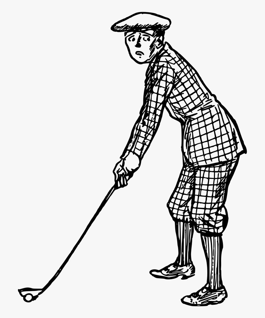 Art,shoe,human - Golf Man Drawing, Transparent Clipart