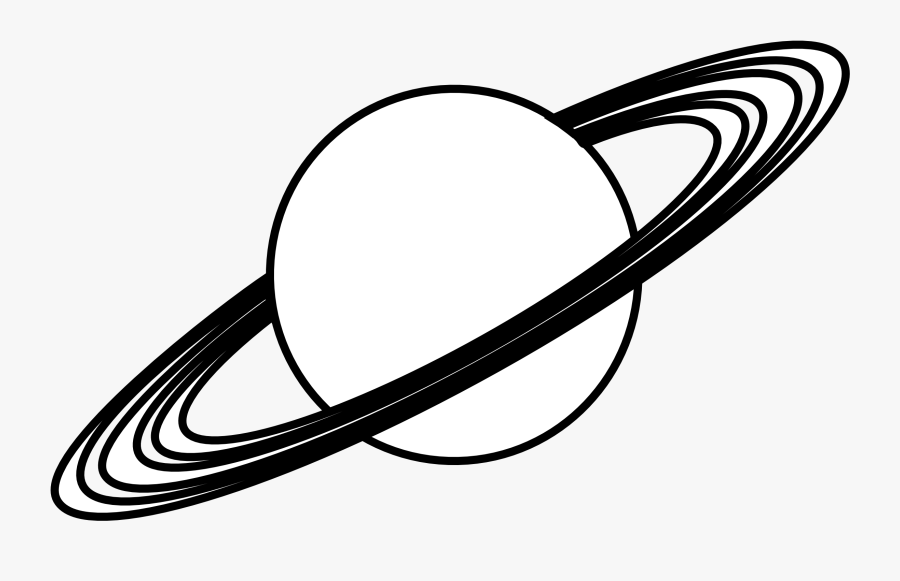 Planet With Rings Black - Black And White Planet, Transparent Clipart