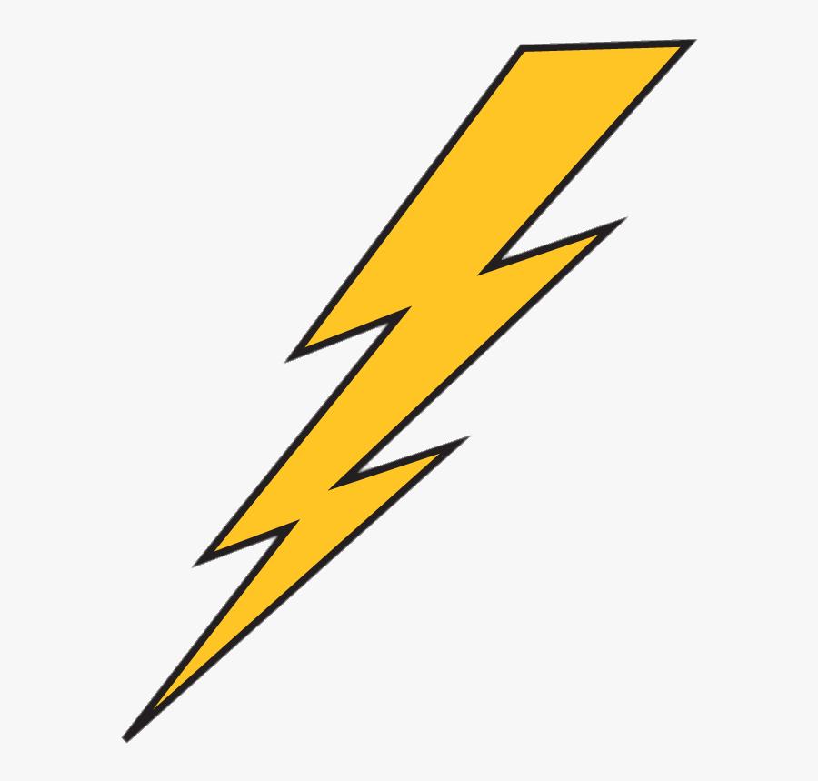 Lightning Bolt Yellow With Black Outline - Lightning Bolt Transparent Background, Transparent Clipart