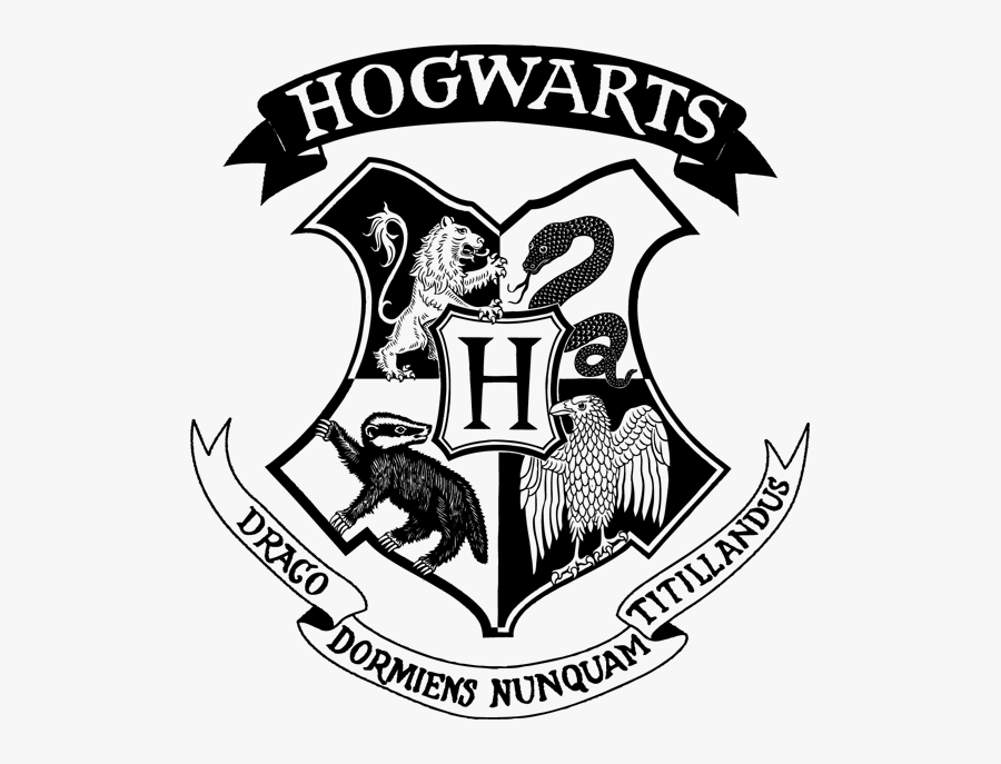 Hogwarts Logo Black And White Png, Transparent Clipart