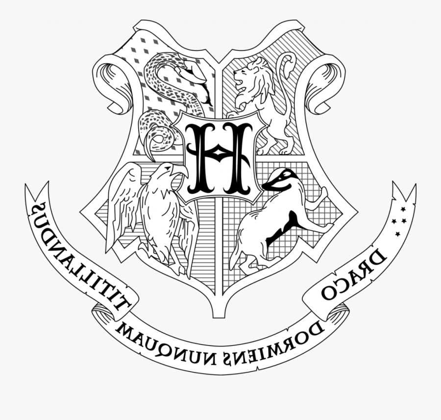 Interesting Harry Potter Coloring Pages Hogwarts House - Harry Potter Crest Drawing, Transparent Clipart