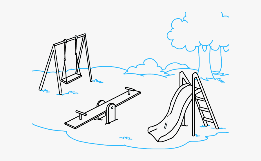 How To Draw Playground - Draw A Playground, Transparent Clipart