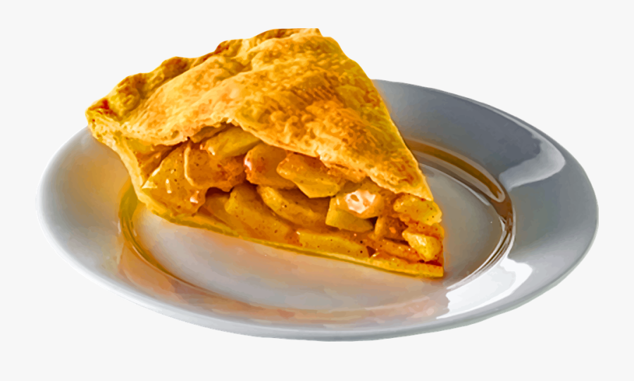 Apple Pie Slice Plate Food Sweet Tasty Pastry - Slice Of Pie On Plate, Transparent Clipart