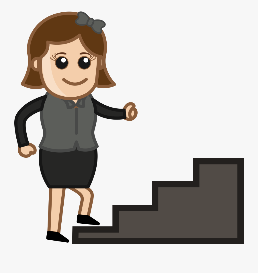 Walking Up Stairs Cartoon, Transparent Clipart