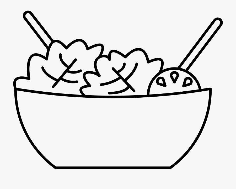 Vegetables Image - Salad Bowl Salad Clipart Black And White, Transparent Clipart