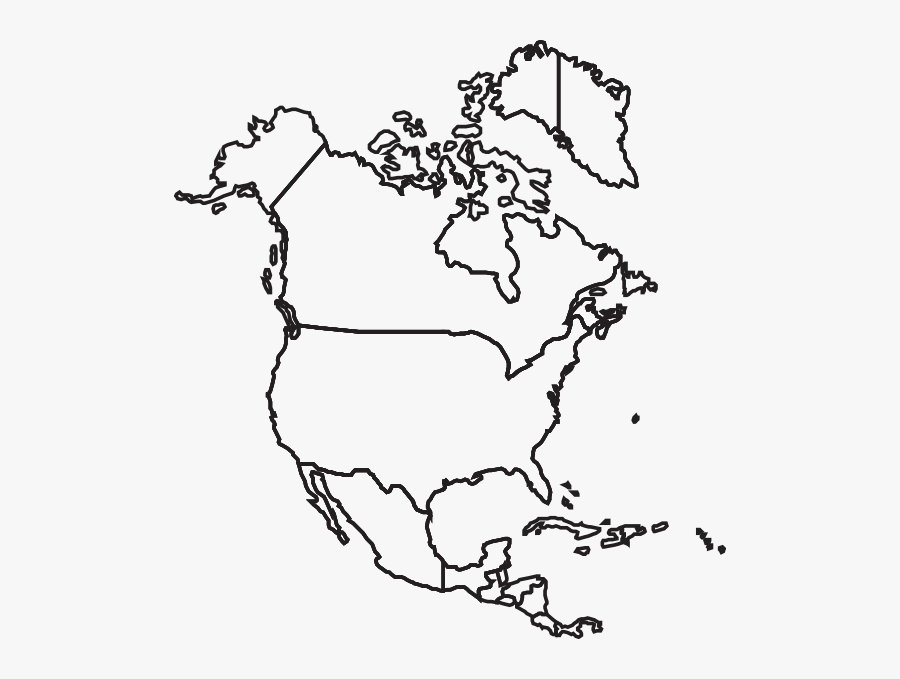 North America Map Clip Art At - Outline North America Map, Transparent Clipart