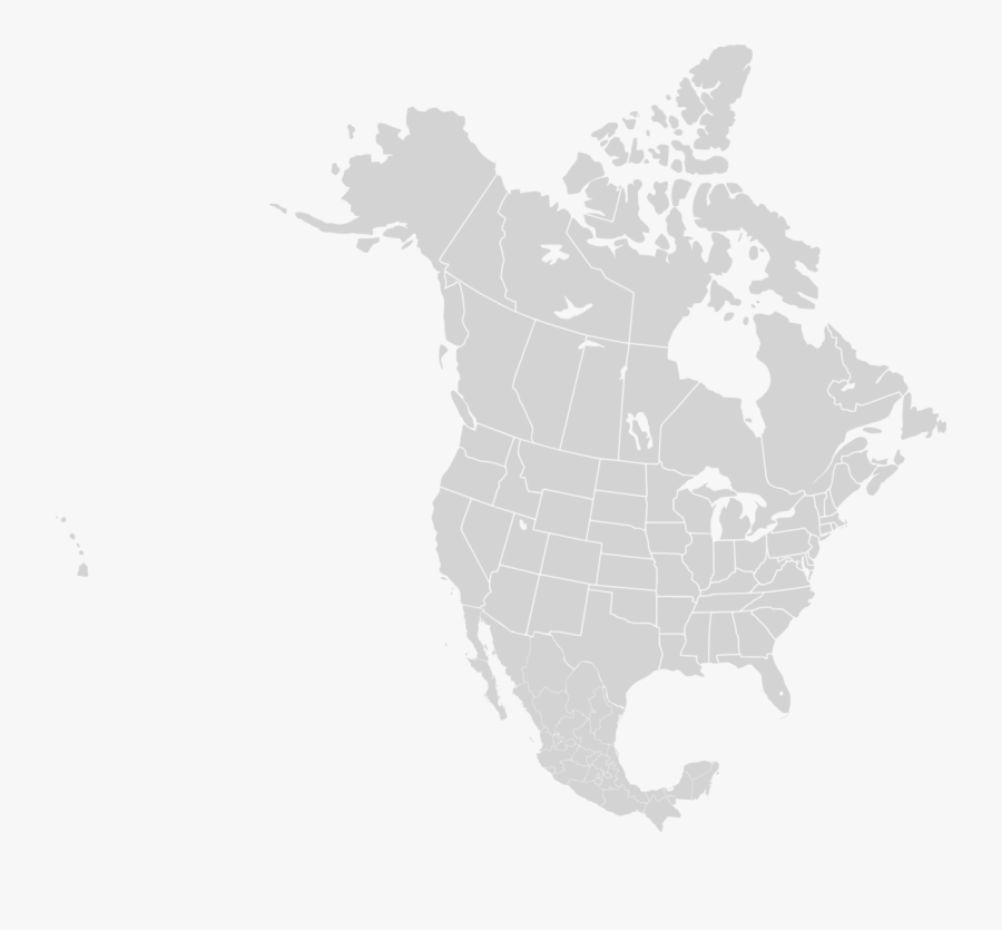 Clip Art Blank Map Of North America - North America Map Png, Transparent Clipart