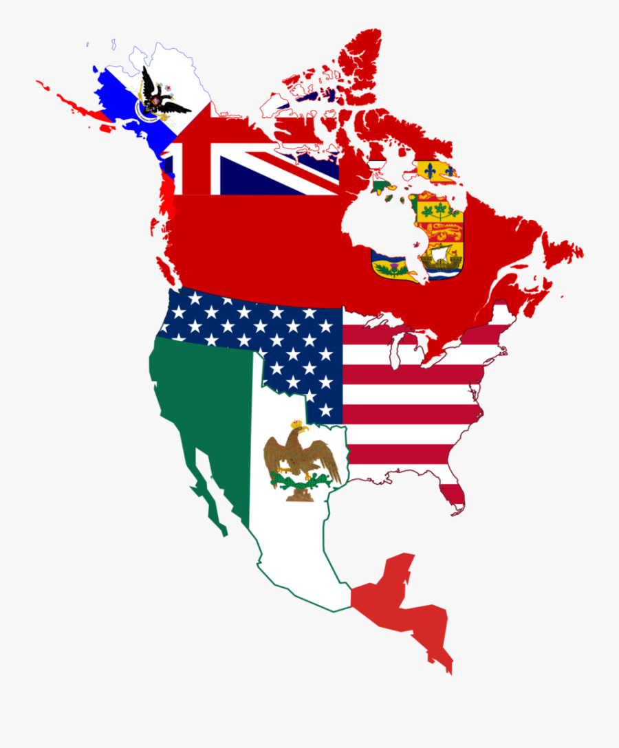 North American Historic Flag Map - Flag Map Of North America, Transparent Clipart