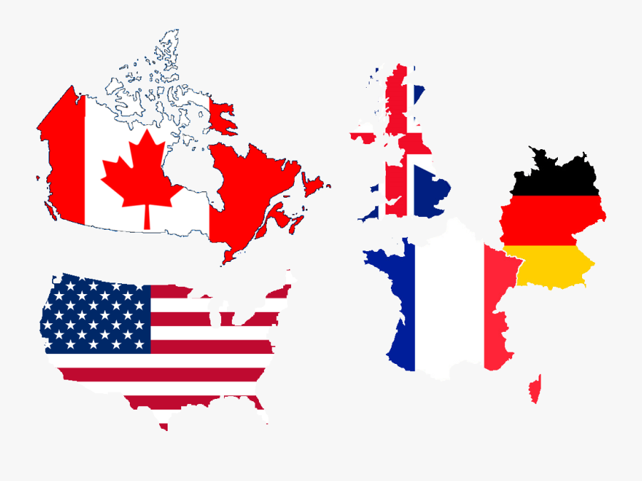 United States Of America, United Kingdom, France, Germany, - North America State Flags, Transparent Clipart