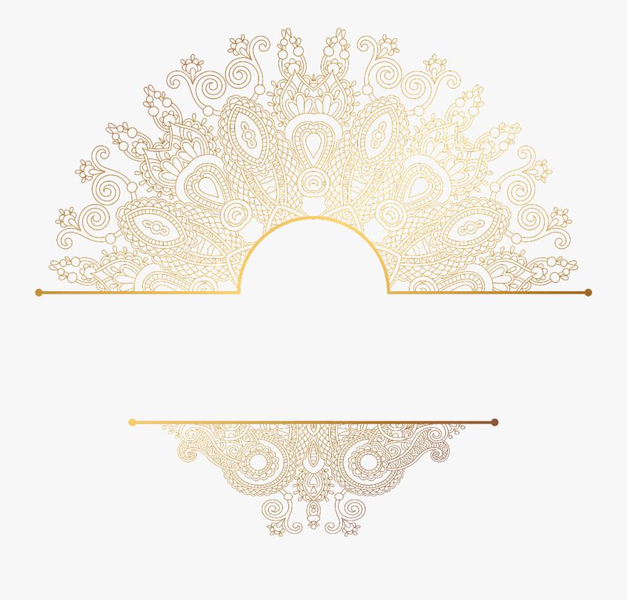 #paisley #gold #mandala #divider #header #textline - Transparent Mandala Gold Png, Transparent Clipart
