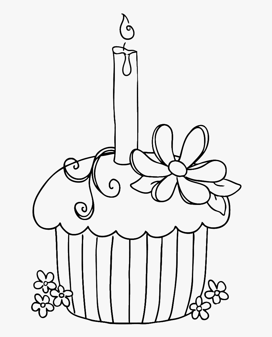 Transparent Geburtstagstorte Clipart - Happy Birthday Cupcake Coloring Pages, Transparent Clipart