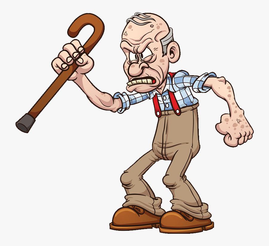 Clipart Man Crutch - Angry Old Man Cartoon, Transparent Clipart