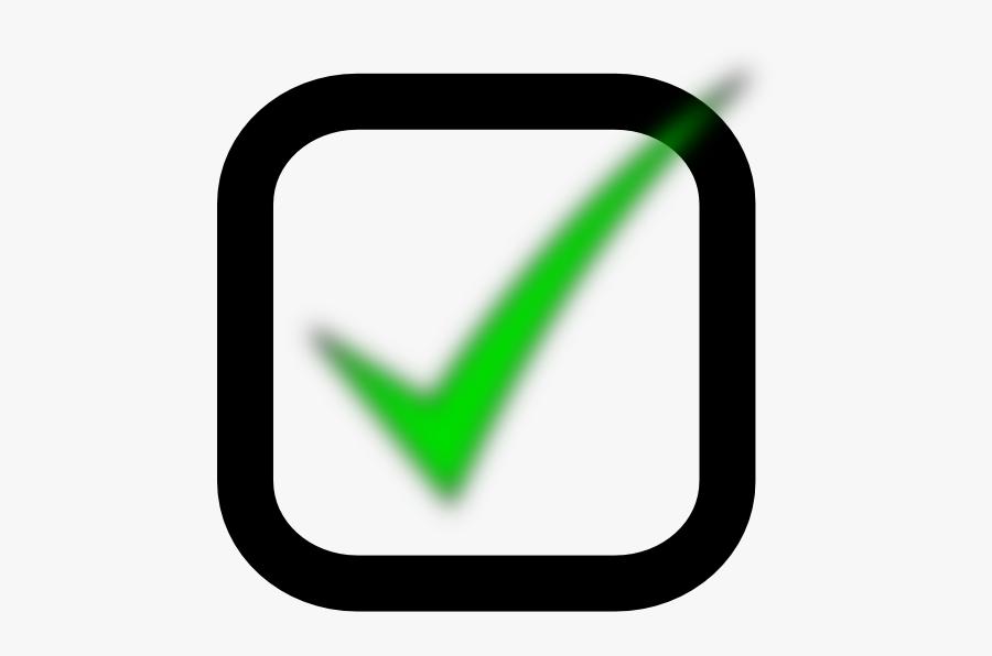 Green Tick In Box, Transparent Clipart