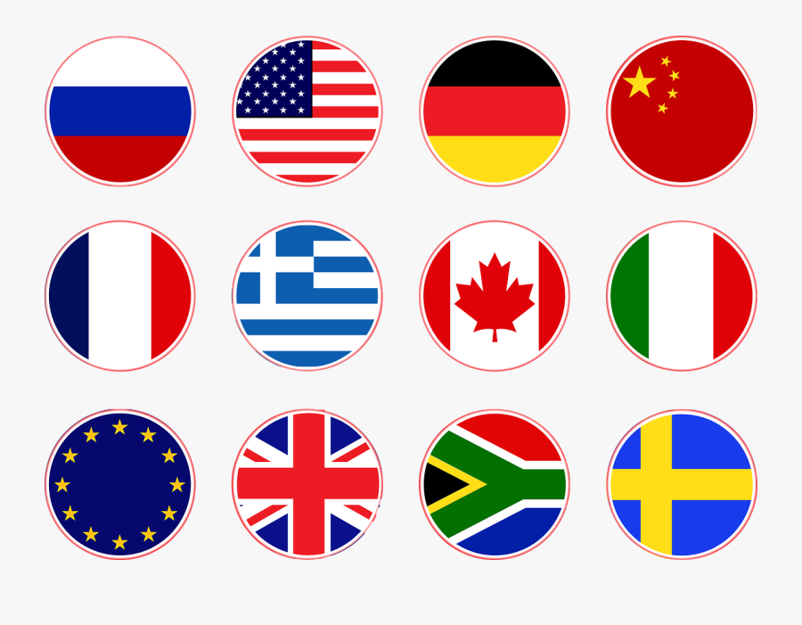 Flags Russia Usa Germany China Png Image Clipart , - Circle Usa Flag Icon, Transparent Clipart