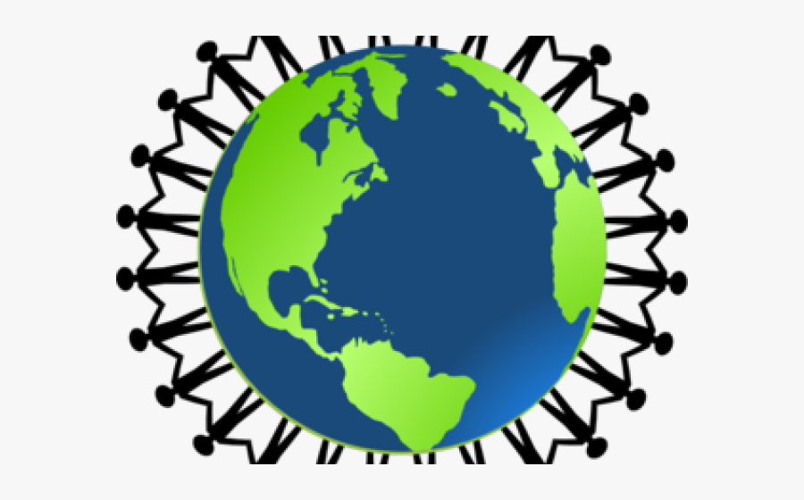 Globe Cliparts - People Holding Hands On Earth, Transparent Clipart