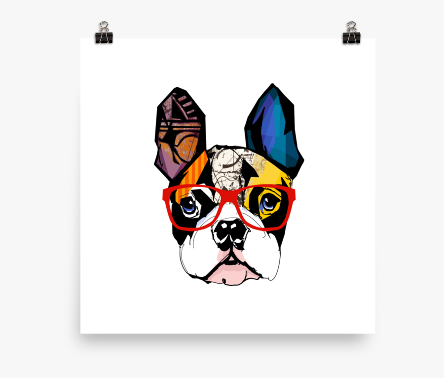 Chinese Dog New Year Boston Terrier , Png Download - French Bulldog With Glasses Artwork, Transparent Clipart
