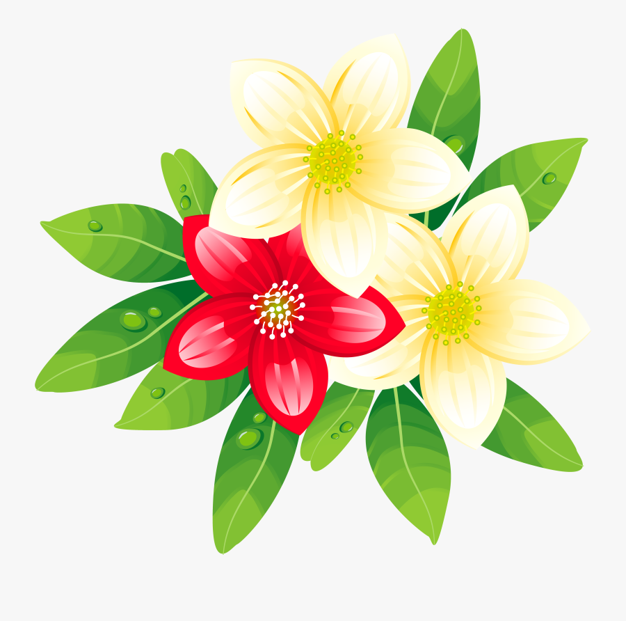 Red And Yellow Exotic Flowers Png Clipart Image - Tropical Flowers Clipart Png, Transparent Clipart