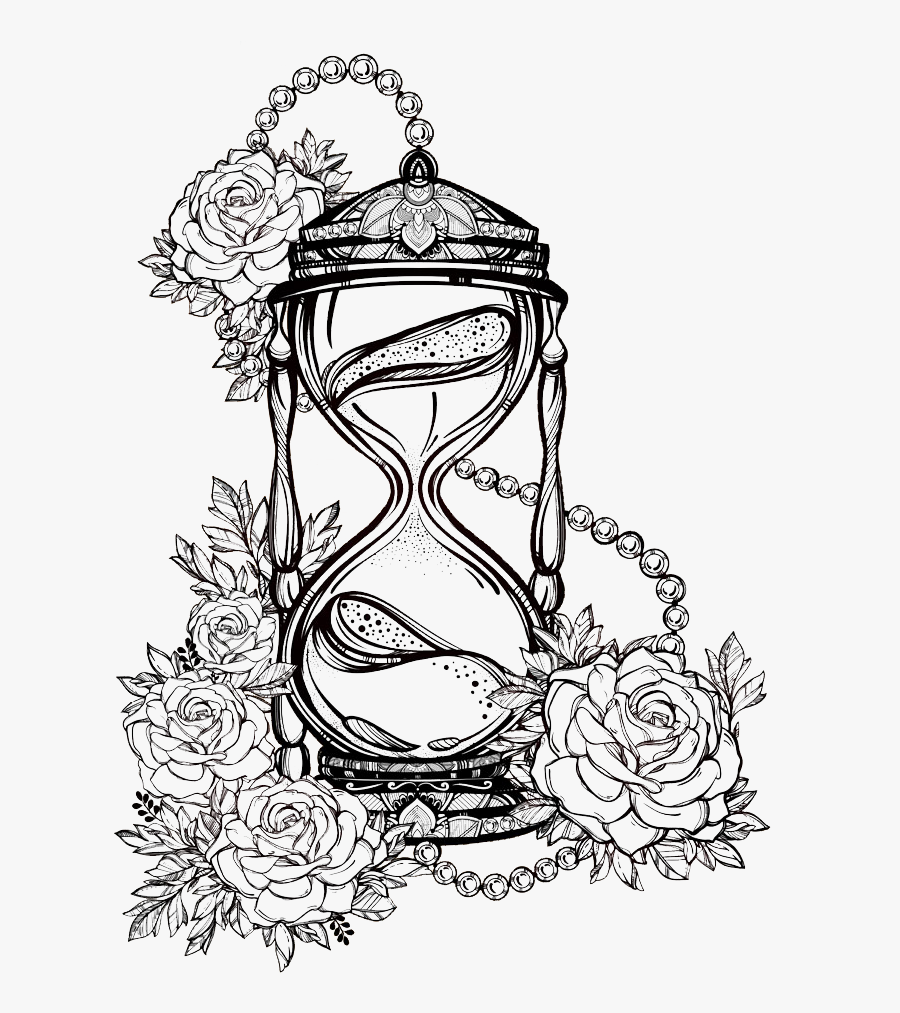 Rose Sketch Lines Drawing Hourglass Hq Image Free Png - Hourglass Sketch, Transparent Clipart