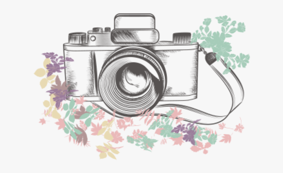 #ftestickers #clipart #camera #flowers - Photography Camera Sketch, Transparent Clipart