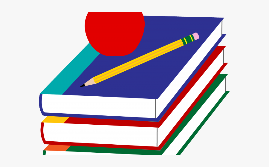 Library Clipart Books - Books And Apple Clipart, Transparent Clipart