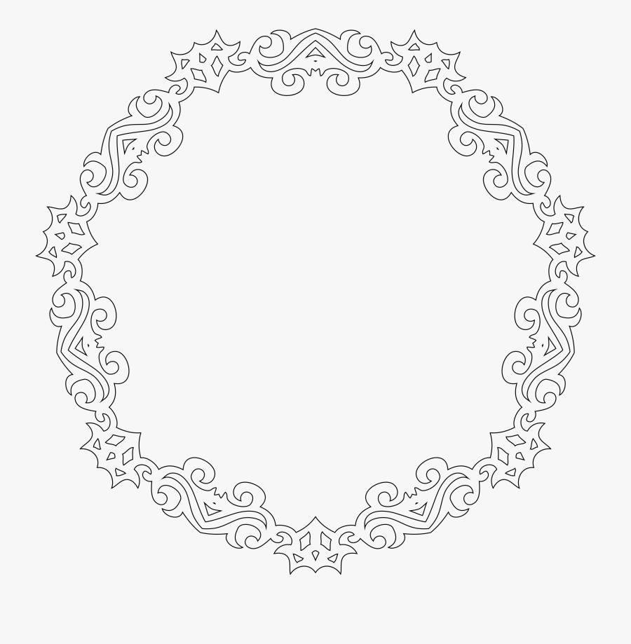 Decorative Line Art Frame 4 Clip Arts, Transparent Clipart