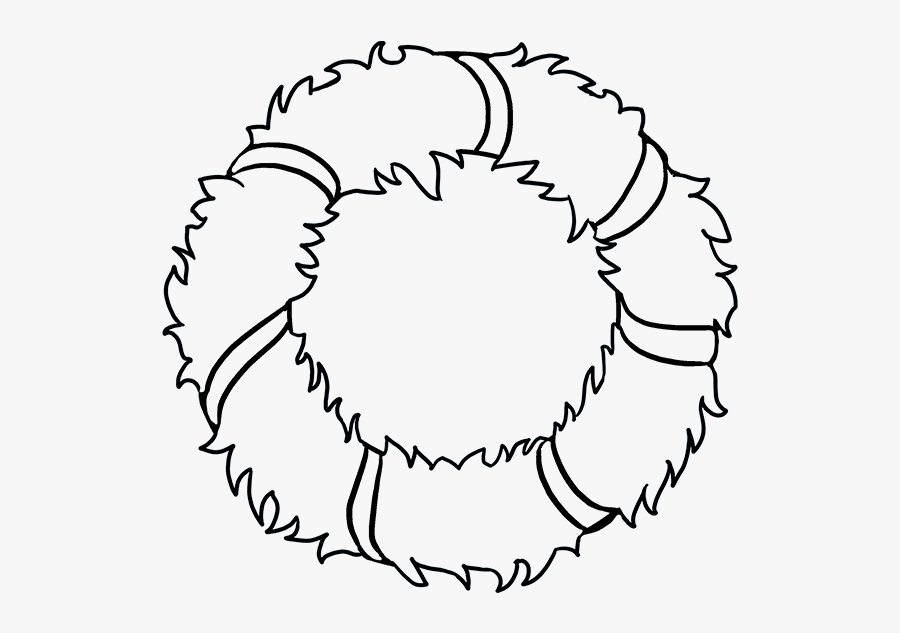 How To Draw Christmas Wreath - Christmas Wreath Drawings Png, Transparent Clipart
