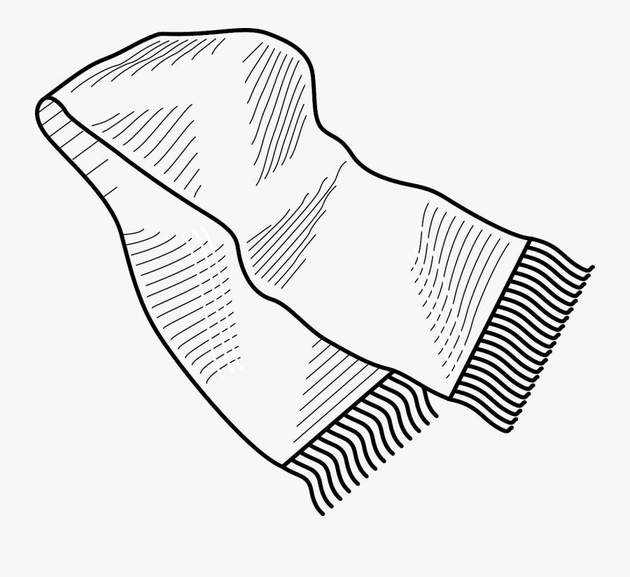 Clip Art Black And White Scarf Clipart - Cloth Piece Clipart Black And White, Transparent Clipart