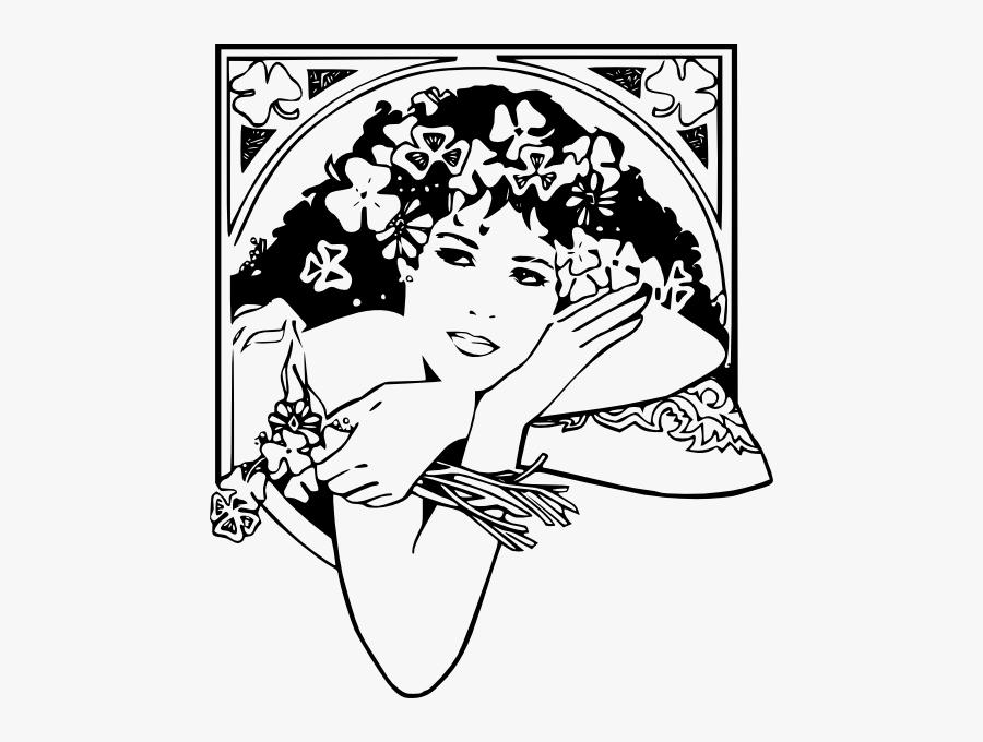 Free Vector St Patricks Girl Clip Art - Dia De La Mujer Blanco Y Negro, Transparent Clipart