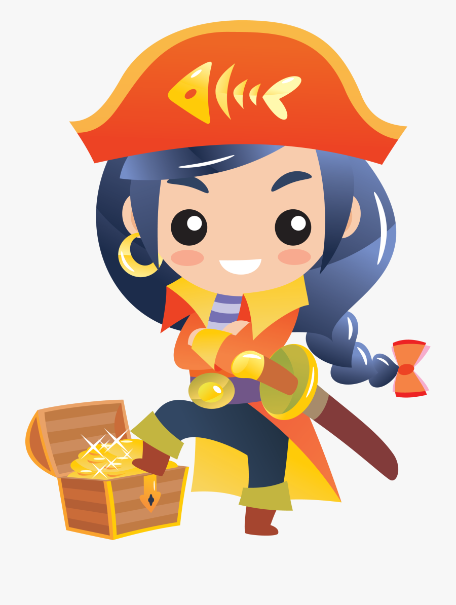 Kpcw Online Auction - Chibi Cartoon Pirate Female, Transparent Clipart