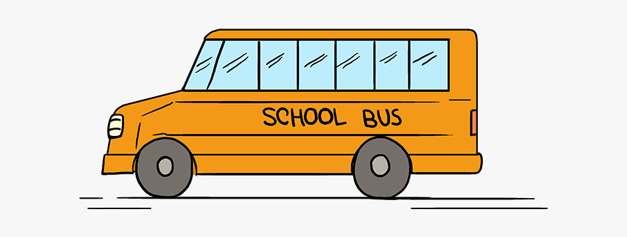 How To Draw A School Bus - School Bus Easy Drawing, Transparent Clipart