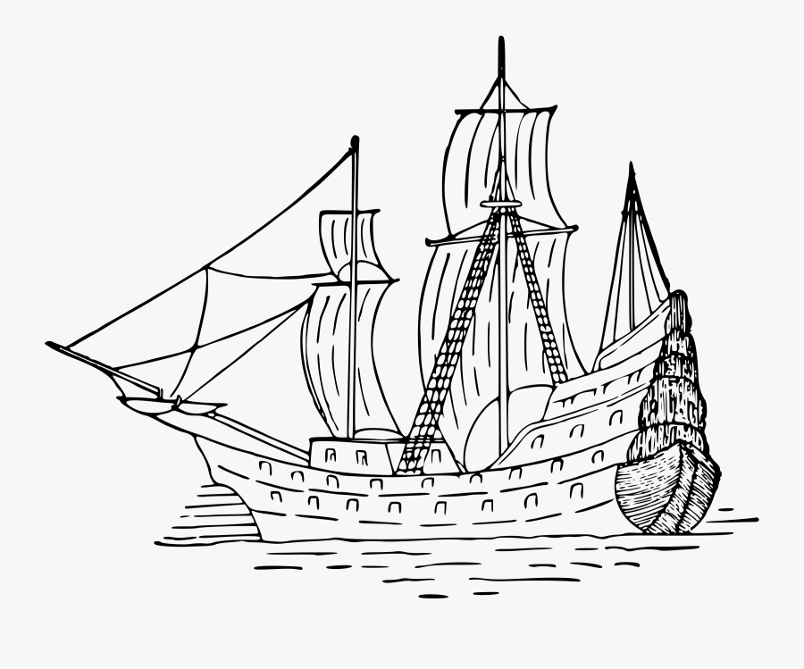 Sailing Ship - Pirate Ship Drawing Png, Transparent Clipart