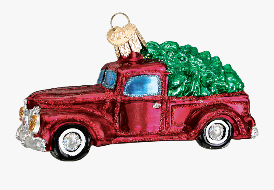 Clip Art Red Christmas Truck - Christmas Glass Ornament Red Truck With Tree, Transparent Clipart
