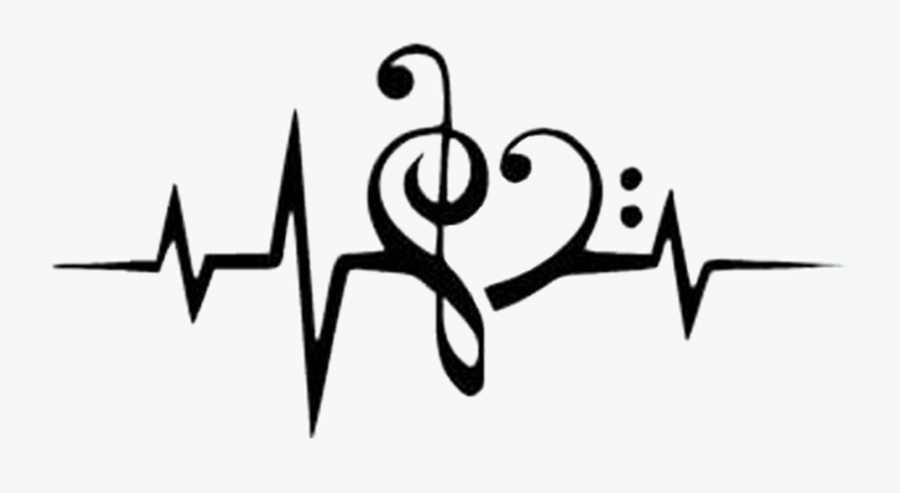 Heartbeat With Music Notes Clipart , Png Download - Treble Clef And Bass Clef Heart, Transparent Clipart