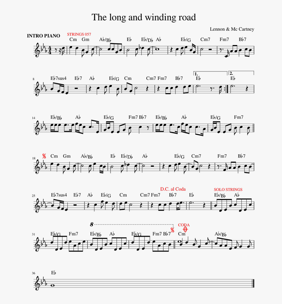 The Long And Winding Road Sheet Music For Piano Download - Phil Keaggy When Night Falls Ноты, Transparent Clipart