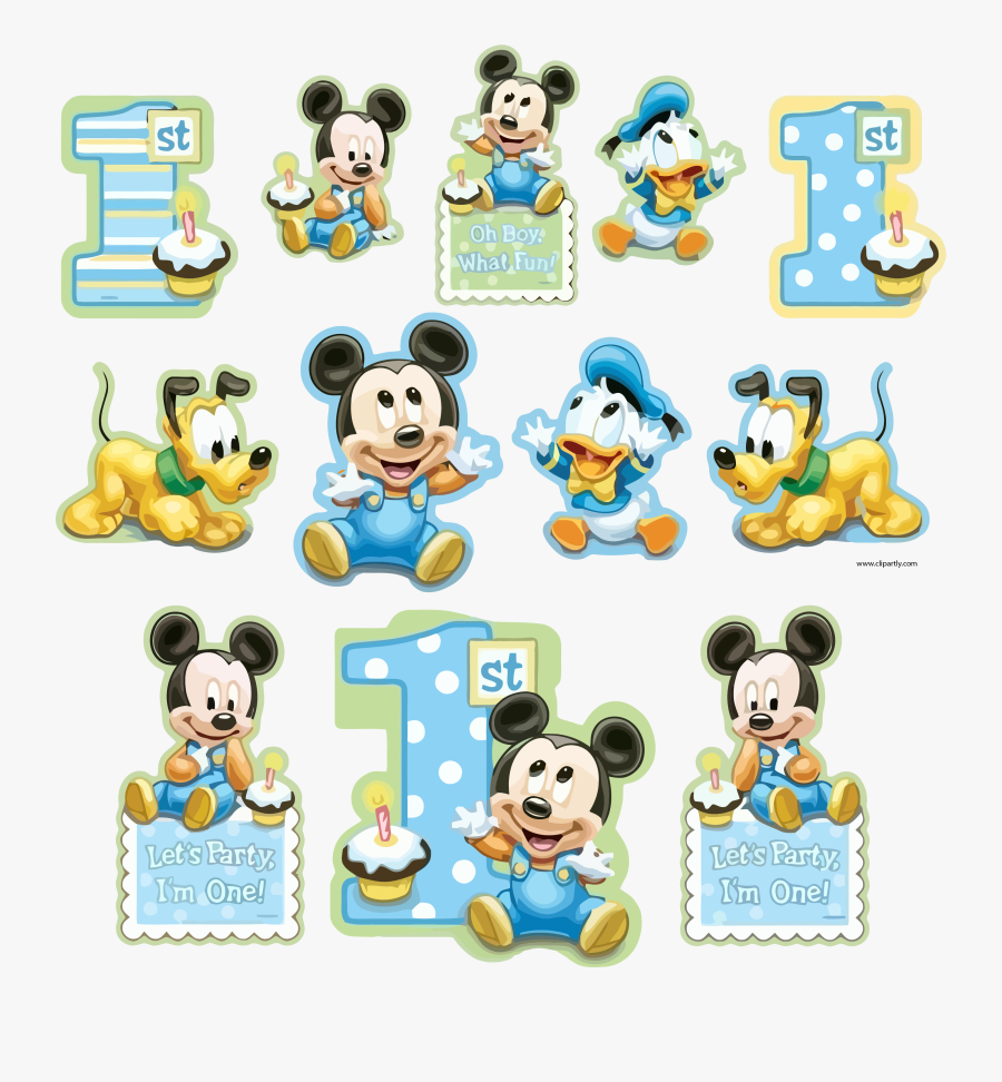 All Sticker Sample Mickey And Friends Baby Clipart - Mickey Mouse Baby 1st, Transparent Clipart
