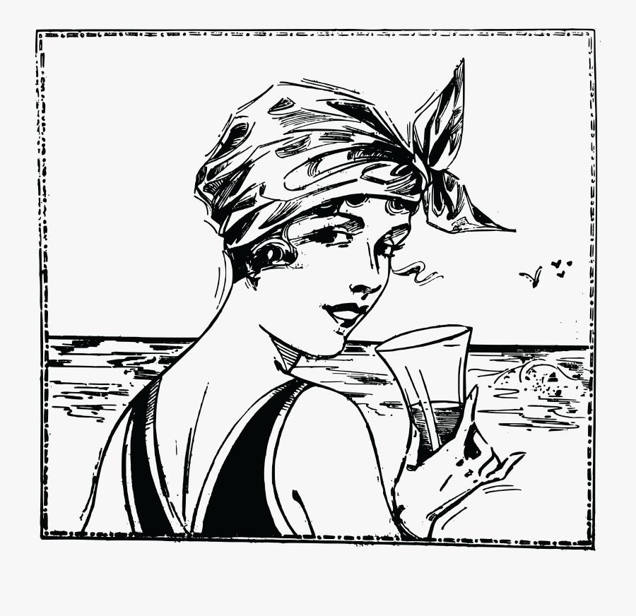 Free Clipart Of A Vintage Woman At A Beach - Vintage Beach Clip Art, Transparent Clipart