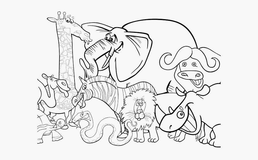 Zoo Clipart Drawing Jungle Animals Clipart Black And White Free Transparent Clipart Clipartkey