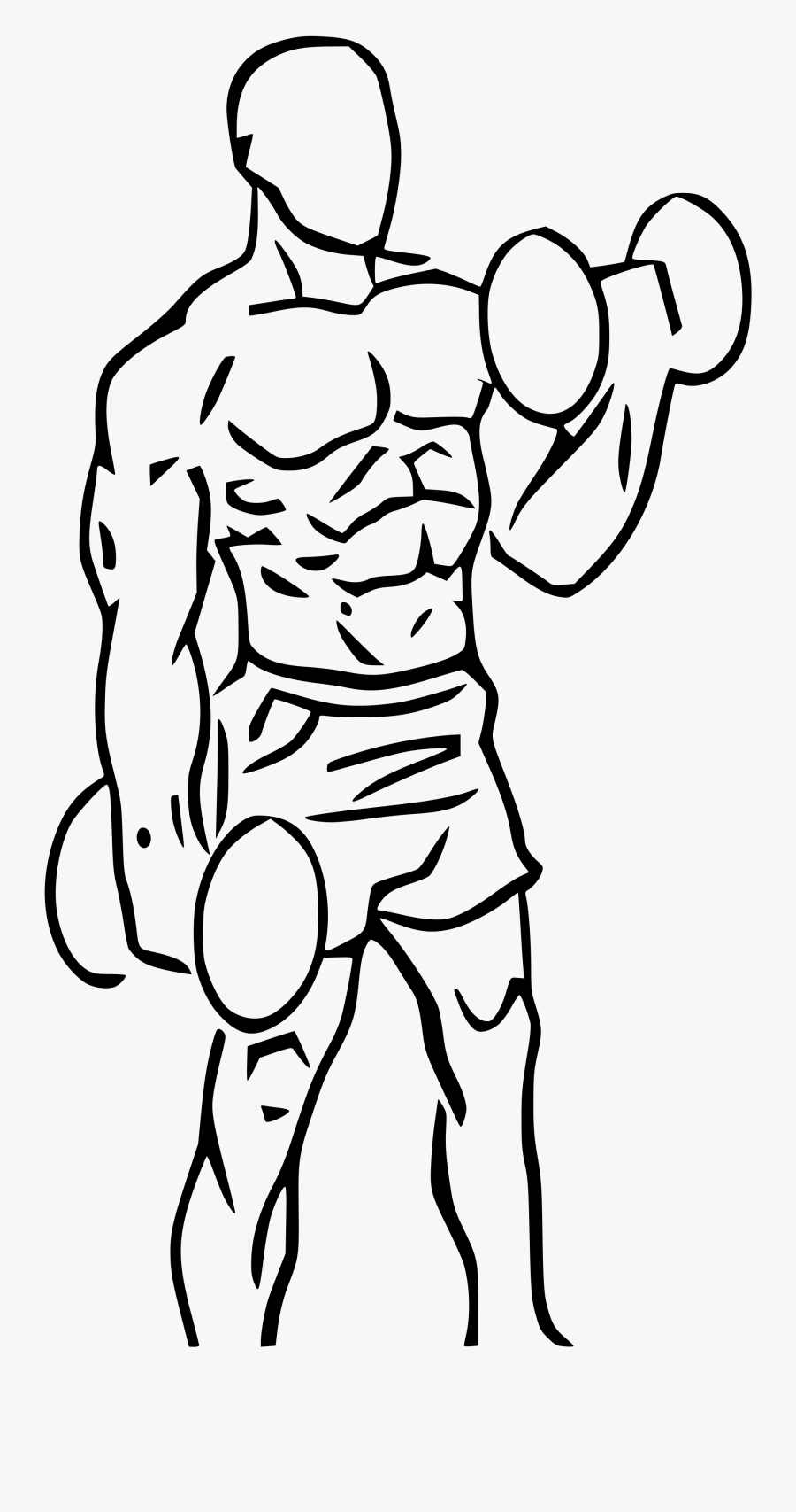 Collection Of Drawing - Bicep Curls Dumbbell Drawing, Transparent Clipart