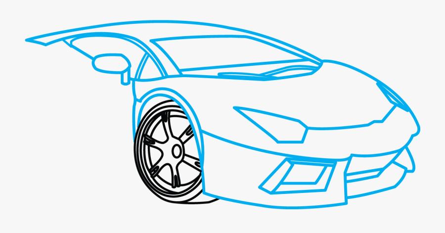 Lamborghini Aventador Step-by - Lamborghini Easy How To Draw A Cool Car, Transparent Clipart