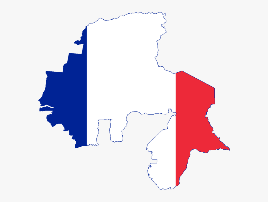 Flag Map Of French West Africa And North Africa - French West Africa Flag Map, Transparent Clipart