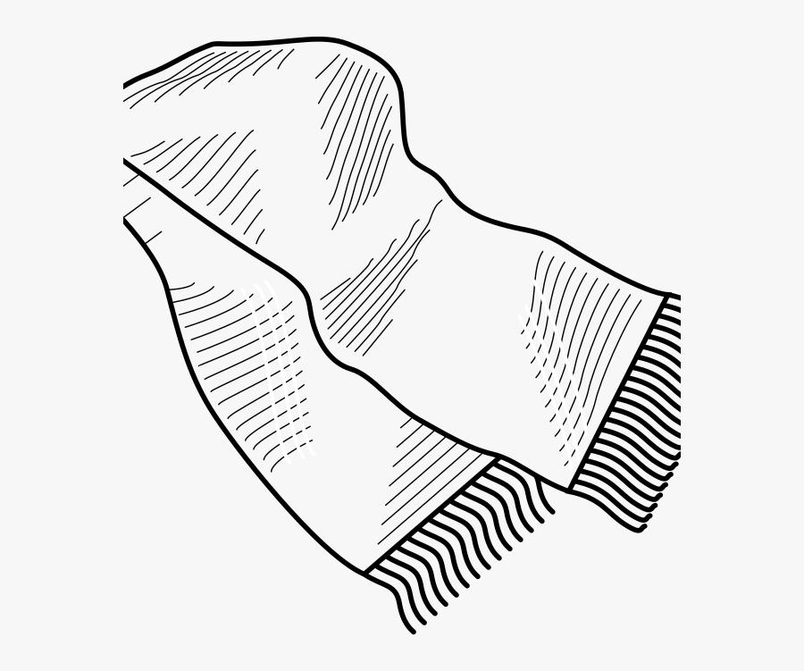 Line Art,leaf,angle - Scarf Clip Art Black And White, Transparent Clipart