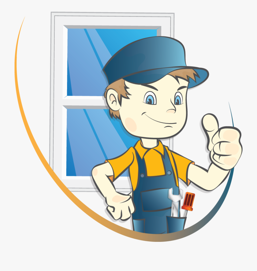 Mwf Logo Character - Man Fitting Window Cartoon, Transparent Clipart